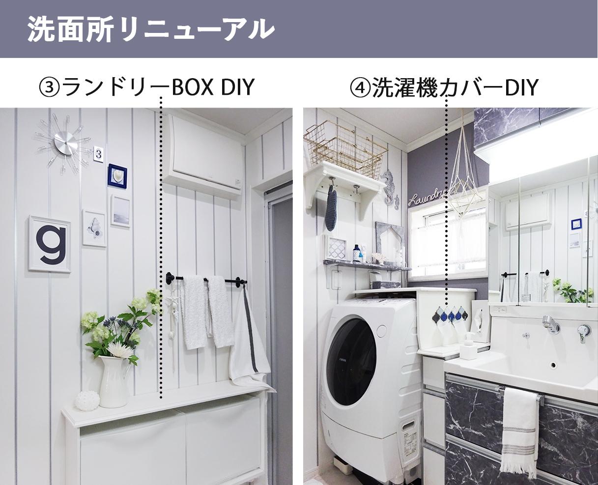 ランドリーBOX DIY, 洗濯機カバーDIY