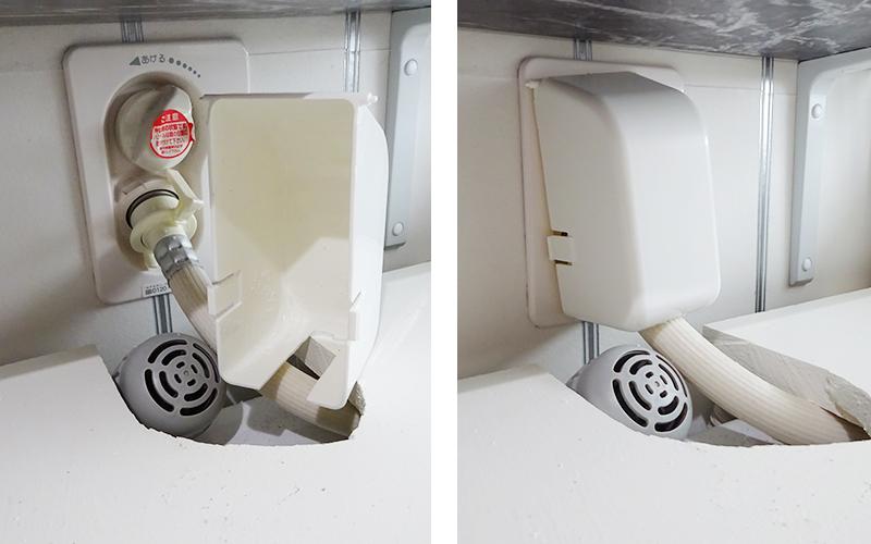 赤ちゃん いたずら防止 コンセントカバーで洗濯機の給水口を隠す