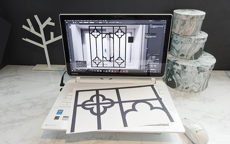 パソコンでデザインを描画