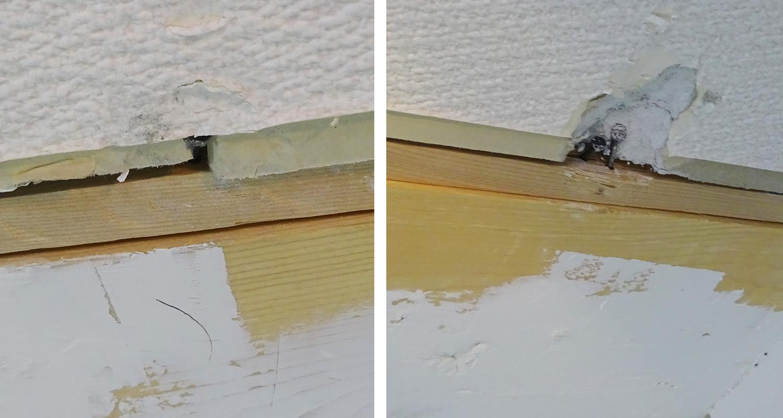 角材を横の梁に釘打ち