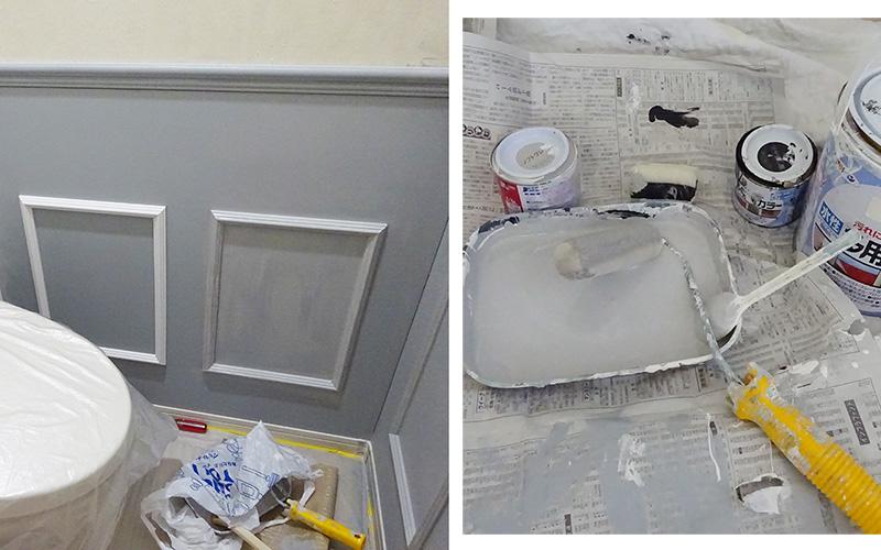 腰壁DIY ペンキ塗り2回目